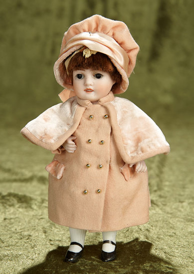 "7"" German all-bisque doll, model 160, by Kestner in pretty costume. $400/500"