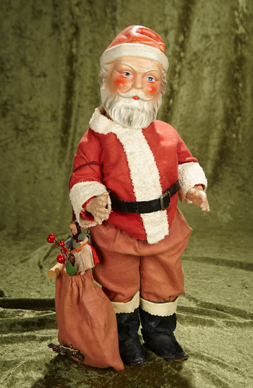 "19"" German composition Santa Claus with sculpted beard and hat, original costume. $400/500"