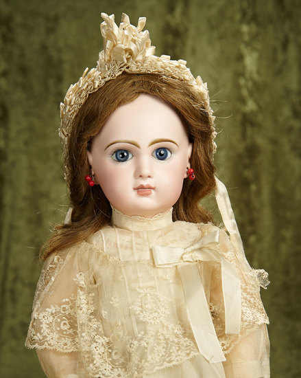 "20"" Beautiful French bisque bebe Jumeau, size 9,original signed body, antique costume. $2800/3400"