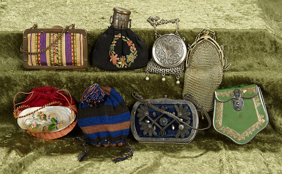 Eight early doll purses in various styles. $400/500