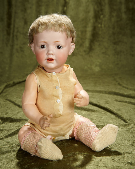 "17"" German bisque character ""Hilda"" by Kestner with original wig and pate. $1200/1600"