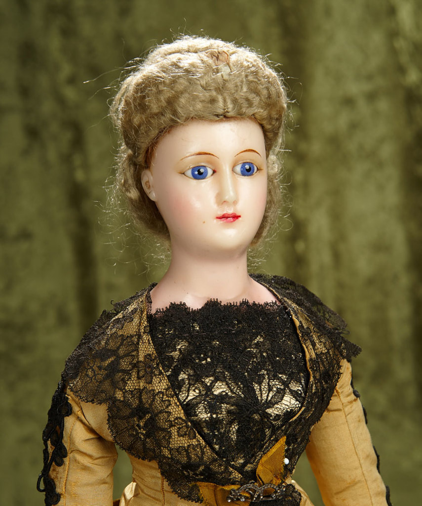 "23"" German wax fashion lady ""Staatdamen"" with unique painted gloves and boots, rare. $900/1200"