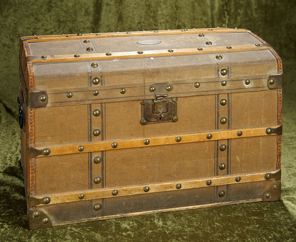 """20"""" French wooden/canvas leather doll trunk for """"Mlle Madeleine George"""" maker's label. $400/500"""
