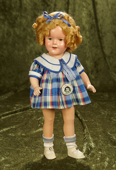 "16"" Composition Shirley Temple by Ideal in original ""Bright Eyes"" costume. $400/500"