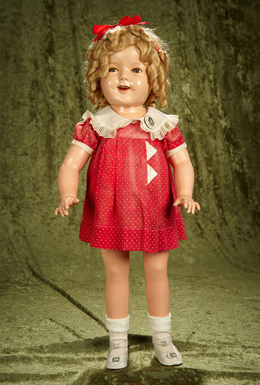 "27"" Composition flirty-eyed Shirley Temple in rare ""triangle"" birthday dress by Ideal. $500/750"
