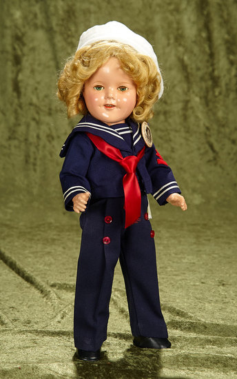 "16"" Composition Shirley Temple by Ideal in tagged ""Captain January"" costume, 1936. $400/500"