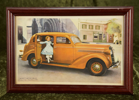 "13"" x 9"" Color ad for Merritt Motor Sales of Oelwein Iowa featuring Shirley Temple. $200/300"