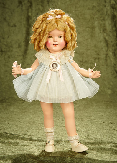 "18"" Composition Shirley Temple by Ideal in Original Tagged Costume. $400/600"