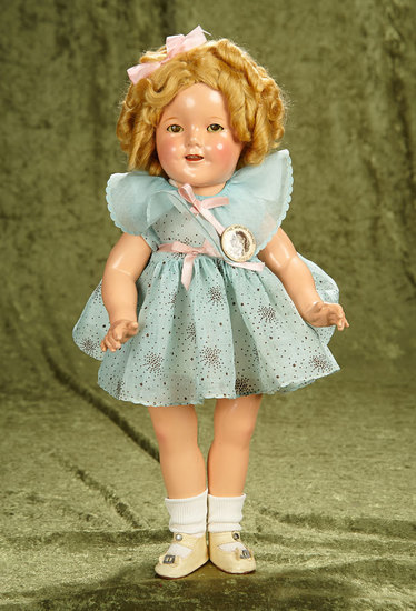 "Composition Shirley Temple by Ideal in Original Starburst Dress from ""Curly Top"". $400/600"