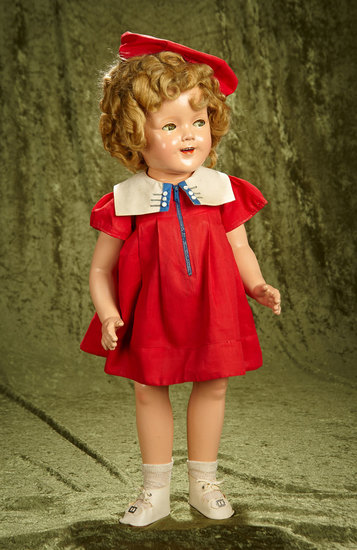 "25"" Composition flirty-eyed Shirley Temple by Ideal in rare zipper dress. $400/500"