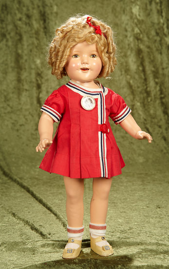 "20"" Composition Shirley Temple by Ideal in ""Our Little Girl"" Costume, 1934. $400/600"