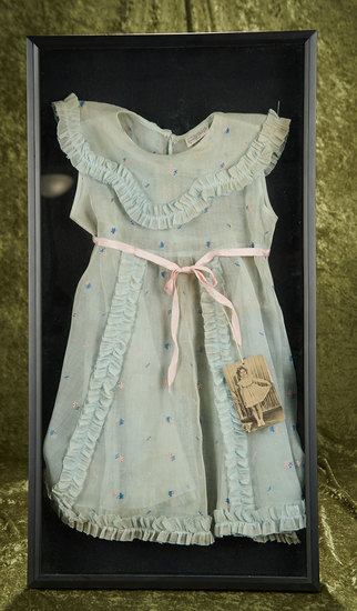 "25""l. Pale Blue Organdy ""Cinderella Frock Authentic Shirley Temple Style"" in Display Frame $400/500"
