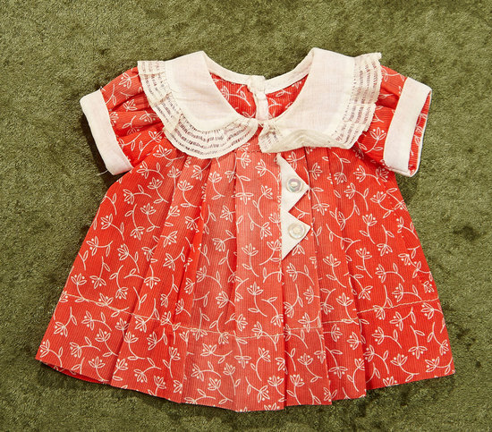 "Red Cotton Dress for Shirley Temple by Ideal inspired by ""Poor Little Rich Girl"". $200/300"