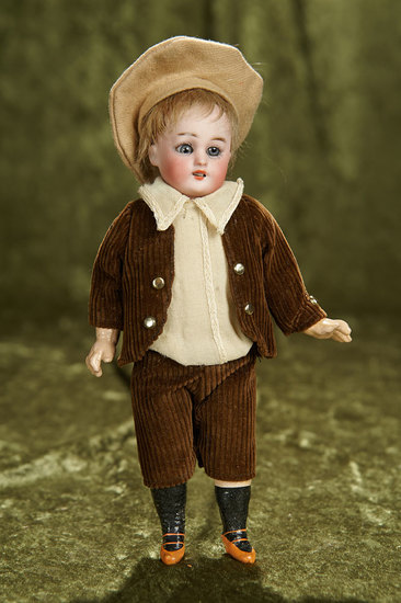 "9"" German bisque miniature doll ""Globe Baby"" by Hartman in antique costume. $3--/5--"