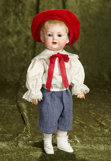 "13"" German bisque character, 585, by Bahr and Proschild in wonderful costume. $400/600"