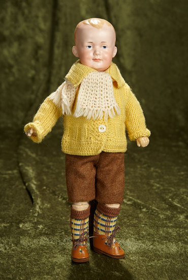 "12"" Mischievous German bisque painted eye character, model 560, by Marseille. $500/800"