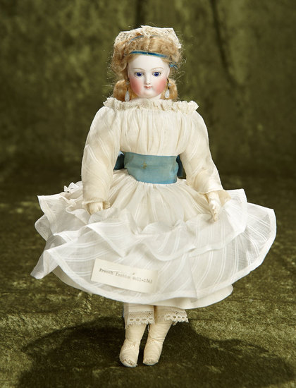 "12"" Petite beautiful French bisque poupee, cobalt blue eyes, wonderful original wig. $1600/2100"