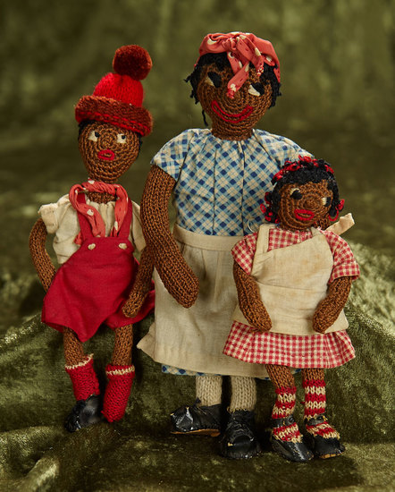 "5 1/2"" - 8"" Trio of brown-complexioned knit folk dolls with embroidered features. $200/400"