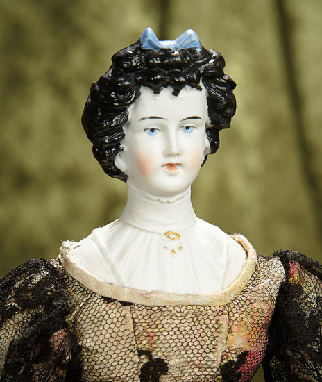 "16"" German bisque lady doll with sculpted hair and bodice, model 8552, by Limbach. $500/700"