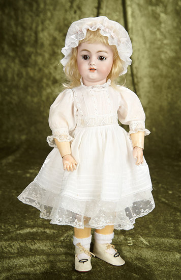 "17"" Beautiful German bisque child, 1079, by Simon and Halbig in pretty antique costume. $400/500"
