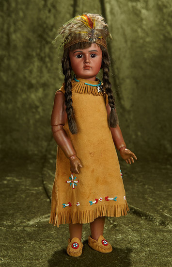 "15"" German bisque portrait of Native American, model 244, by Bahr and Proschild. $900/1100"