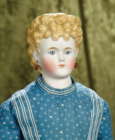 "25"" German bisque lady doll with sculpted blonde hair, antique costume. $400/600"