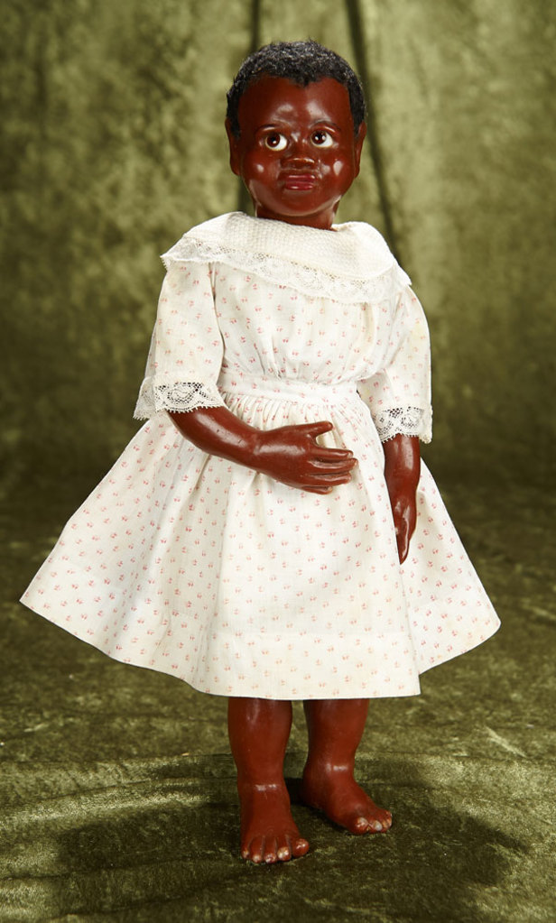 """16"""" Brown-complexioned wax artist doll with glass-side-glancing eyes, original body. $300/400"""