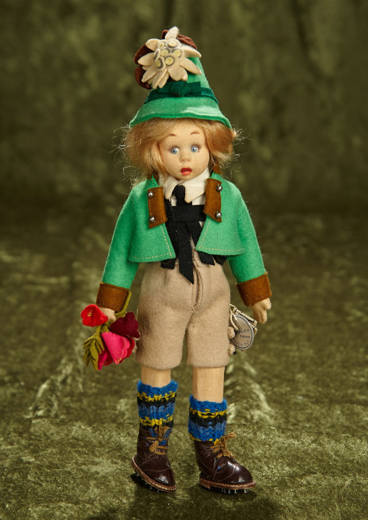 "8"" Italian felt miniature Tyrolean boy by Lenci with original tags. $400/500"