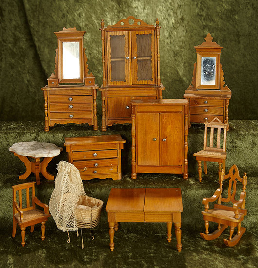 Lot, German maple wood dollhouse furnishings and bent-wire cradle. $400/600