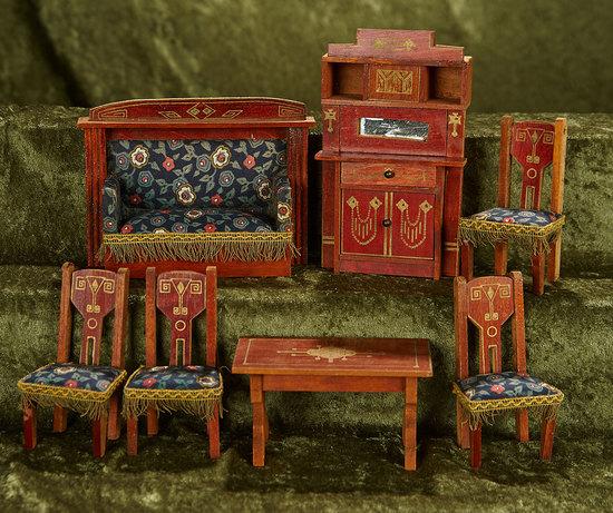 Set German Wooden Miniature Parlor Set with Original Upholstery $300/400