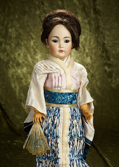 """21"""" German bisque portrait of Asian child, model 1329, by Simon and Halbig. $1400/1800"""