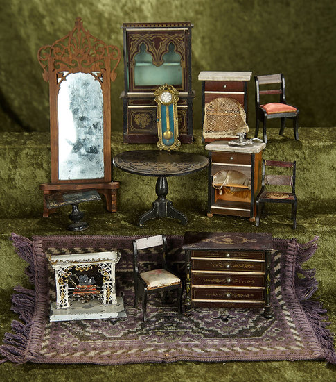 Lot, German Walterhausen wooden dollhouse furnishings. $500/700