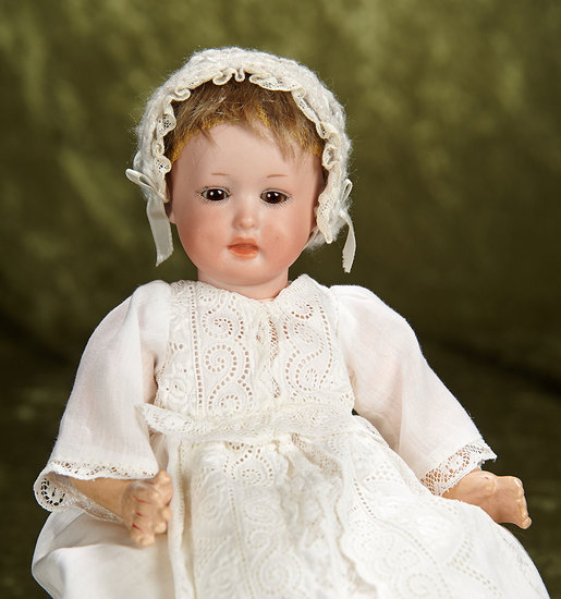 """10"""" German bisque character, model 590, by Marseille in petite size. $300/400"""