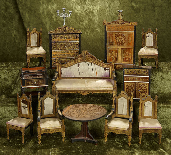 Rare Collection of German Walterhausen dollhouse furnishings with original upholstery. $800/1100
