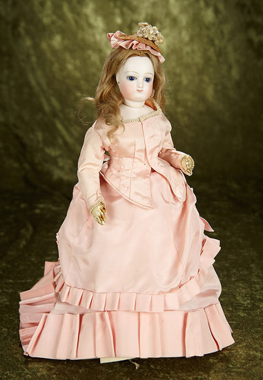"""13"""" French bisque poupee by Leon Casimir Bru in petite size with original body. $1800/2200"""
