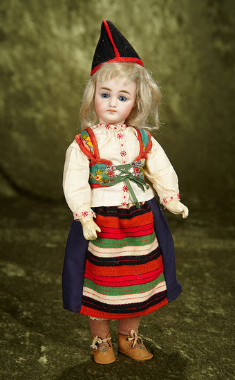 """11""""l. Musical bisque marotte in original costume for the French market, beautiful face. $600/800"""