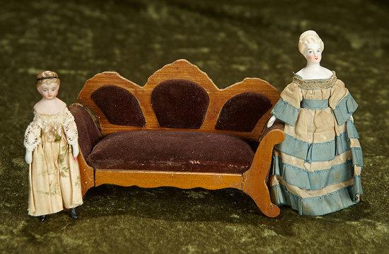 "3 1/2"" - 5"" Two early German bisque dollhouse dolls with Biedermeier dollhouse sofa. $300/500"