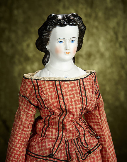 """21"""" German bisque lady doll with rare black hair and sculpted bodice. $500/700"""