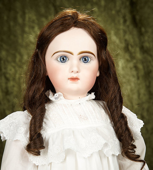 """27"""" French bisque Bebe Jumeau, size 12, tete model with original body, antique costume. $2800/3200"""