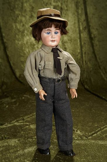 "18"" German bisque doll by Paul Scherf in antique gentleman's costume. $400/600"