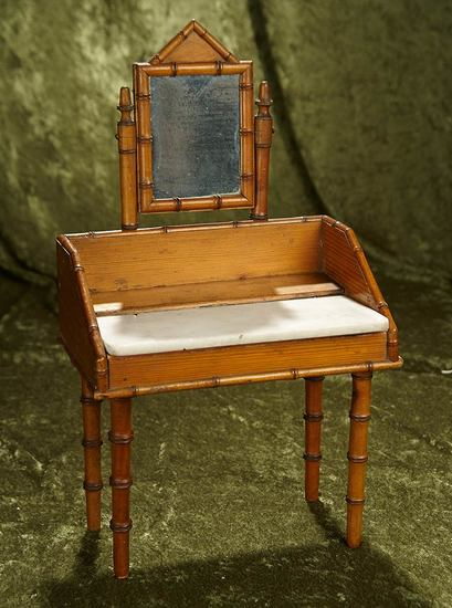"""17"""" French maple wood toilette table for poupee with marble top and mirror. $400/500"""