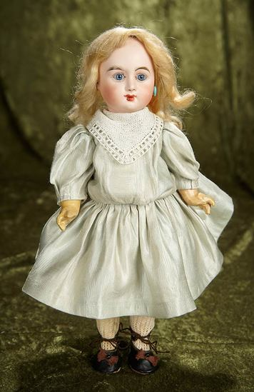 "12"" Petite French bisque closed  mouth bebe attributed to Delcroix. $1600/1900"