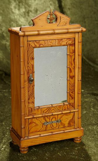 """15"""" French wooden armoire for poupee or small bebe. $400/500"""