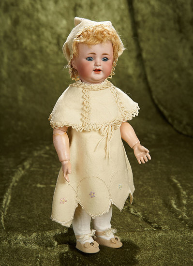 "13"" German bisque character, 126, K*R original toddler body wonderful antique costume. $400/500"