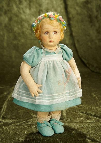 "12"" Italian felt brown-eyed character, ""Lisetta"", model 111, Lenci original costume,labels. $600/900"