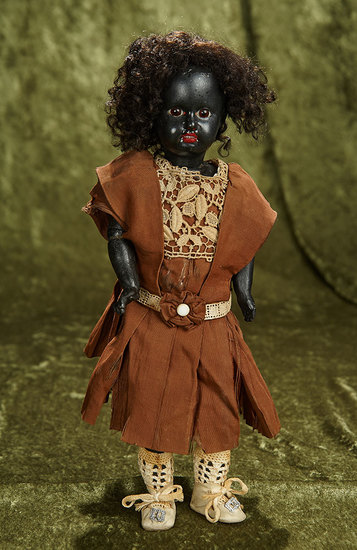 """13"""" Sonneberg black-complexioned bisque doll by mystery maker. $400/500"""