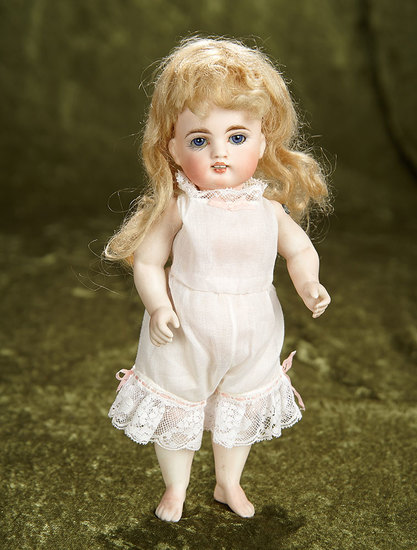 """9"""" Rare German All-Bisque Miniature Doll with Bare Feet. $800/1000"""