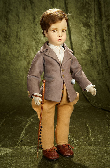 """23"""" Rare Italian felt character in riding outfit by Lenci. $1200/1500"""