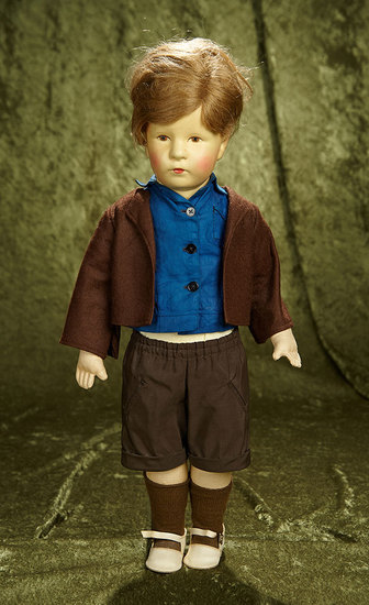"""20"""" German pouty-faced character boy by Kathe Kruse. $400/500"""