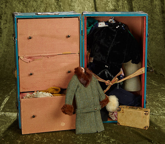 Trunk of costumes for 1920s era flapper doll. $200/300